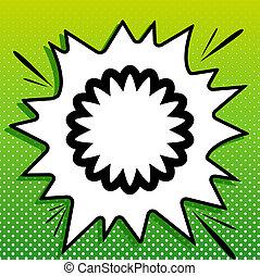 witte , black , popart, mandala, groene achtergrond, pictogram, teken., meetkunde, spots., illustration., gespetter