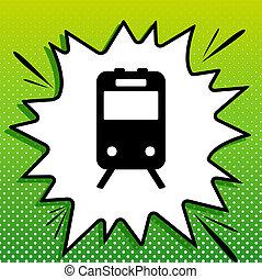 witte , black , popart, trein, groene achtergrond, pictogram, teken., spots., illustration., gespetter