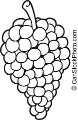 witte , black , spotprent, druiven