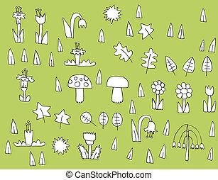 witte , black , spotprent, verzameling, vegetatie