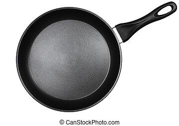 witte , black , vrijstaand, achtergrond, pan