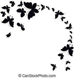 witte , black , vrijstaand, vlinder