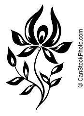 witte bloem, black , vrijstaand