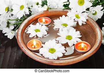witte bloemen, kom, aroma