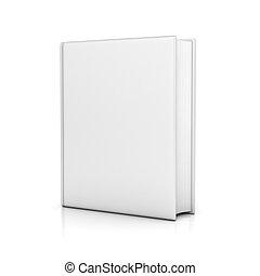 witte , boek, met, leeg, deksels