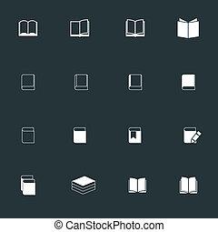 witte , boek, pictogram, set