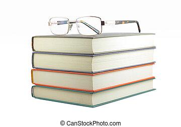 witte , boekjes , achtergrond, bril