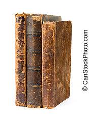 witte , boekjes , oud, vrijstaand, achtergrond