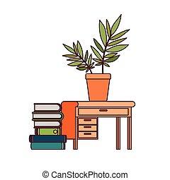 witte , boekjes , stapel, achtergrond, bureau