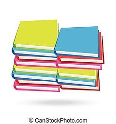 witte , boekjes , stapel, achtergrond, vrijstaand