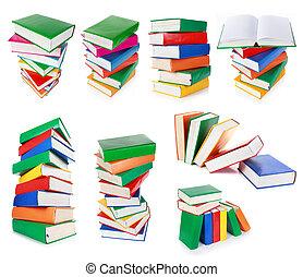 witte , boekjes , vrijstaand, kleurrijke, stapel