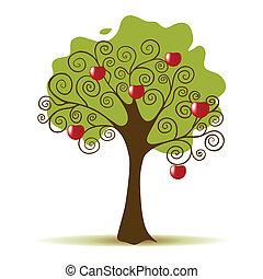 witte , boompje, appel, achtergrond, vrijstaand