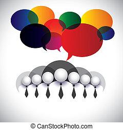 witte boord, werknemers, communicatie, wisselwerking, -, concept, vector., de, grafisch, ook, optredens, mensen, conferentie, sociaal, media, netwerk, stafmedewerkers, &, management, bedrijf, plank, leden, collectief, mensen