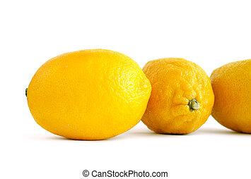 witte , citroen, drie, achtergrond, vrijstaand