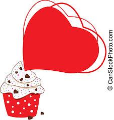 witte , cupcakes, ontwerp, achtergrond