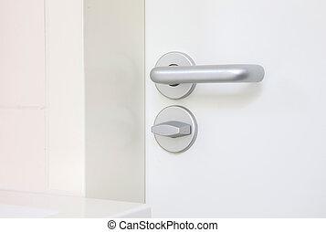 witte , deur, met, chroom, doorhandle