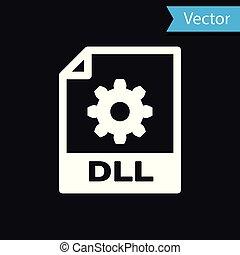 witte , dll, bestand, document, icon., downloaden, dll, knoop, pictogram, vrijstaand, op, black , achtergrond., dll, bestand, symbool., vector, illustratie
