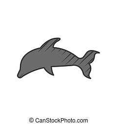 witte , dolfijn, achtergrond, pictogram