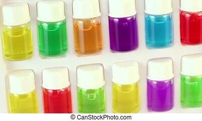 witte , doosje, radvormigen, met, set, van, kleur, olie, in,...