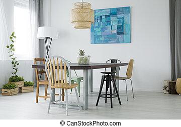 Plafond, kamer, balken, het dineren, hout, witte . Plafond ...