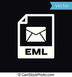 witte , eml, bestand, document, icon., downloaden, eml, knoop, pictogram, vrijstaand, op, black , achtergrond., eml, bestand, symbool., vector, illustratie