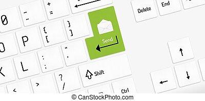 witte envelop, klee, zenden, toetsenbord