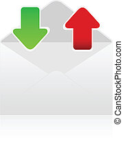 witte envelop, met, groene, en, rode pijl