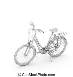 witte , fiets, vrijstaand, achtergrond, 3d