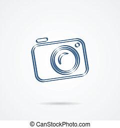 witte , fototoestel, vrijstaand, achtergrond, pictogram
