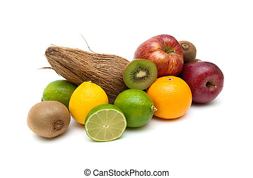 witte , fruit, achtergrond, vrijstaand, rijp