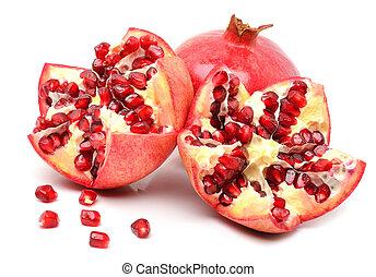 witte , fruit, granaatappels, vrijstaand, rijp