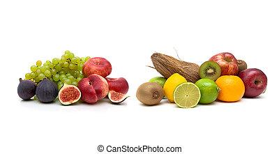 witte , fruit, vrijstaand, achtergrond