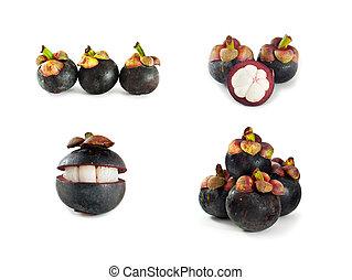 witte , fruit, vrijstaand, verzameling, mangosteen