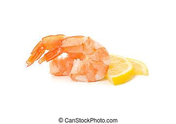 witte , garnalen, citroen, achtergrond, vrijstaand