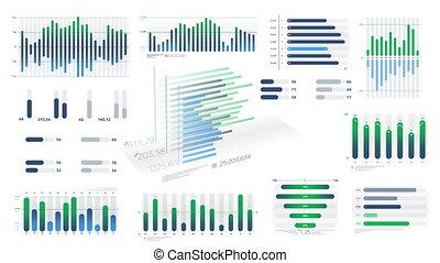 witte , geanimeerd, blauwe-groen, diagrammen, achtergrond