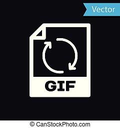 witte , gif, bestand, document, icon., downloaden, gif, knoop, pictogram, vrijstaand, op, black , achtergrond., gif, bestand, symbool., vector, illustratie
