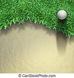 witte , golf bal, op, groen gras