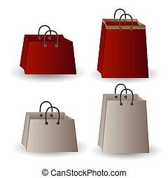 witte , goud, set, geschenk zakken, gunst, rood, vier, lint, papier, feestje, achtergrond., vrijstaand