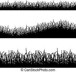 witte , gras, silhouette, achtergrond