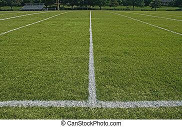 witte , grens, lijnen, van, voetbal gespeel veld