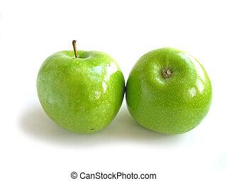 witte , groene appel