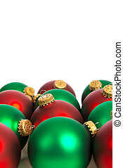 witte , groene, kerstballen, rood