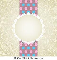 witte , groet, kant, kaart, frame