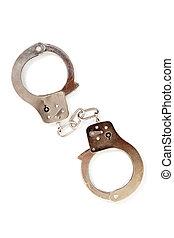 witte , handcuffs, zilver, achtergrond