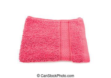 witte handdoek, rode achtergrond