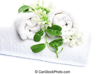 witte , handdoeken, met, witte bloemen, voor, wellness