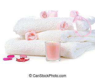 witte , handdoeken