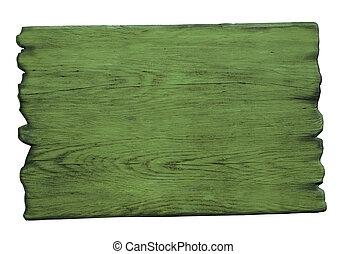 witte , hout, groene, vrijstaand, meldingsbord
