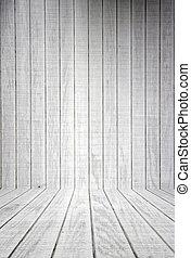 witte , hout, grondslagen, met, vloer