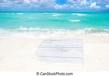 witte , hout, plank, op, de, zandig strand